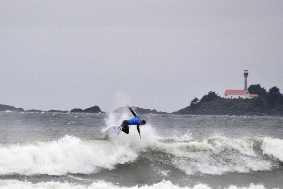 Reed Platenius, 17, performs a backside 360 air manoeuver in final of the Pro Men's Rip Curl Pro Nationals at Cox Bay. (Nora O'Malley photo)