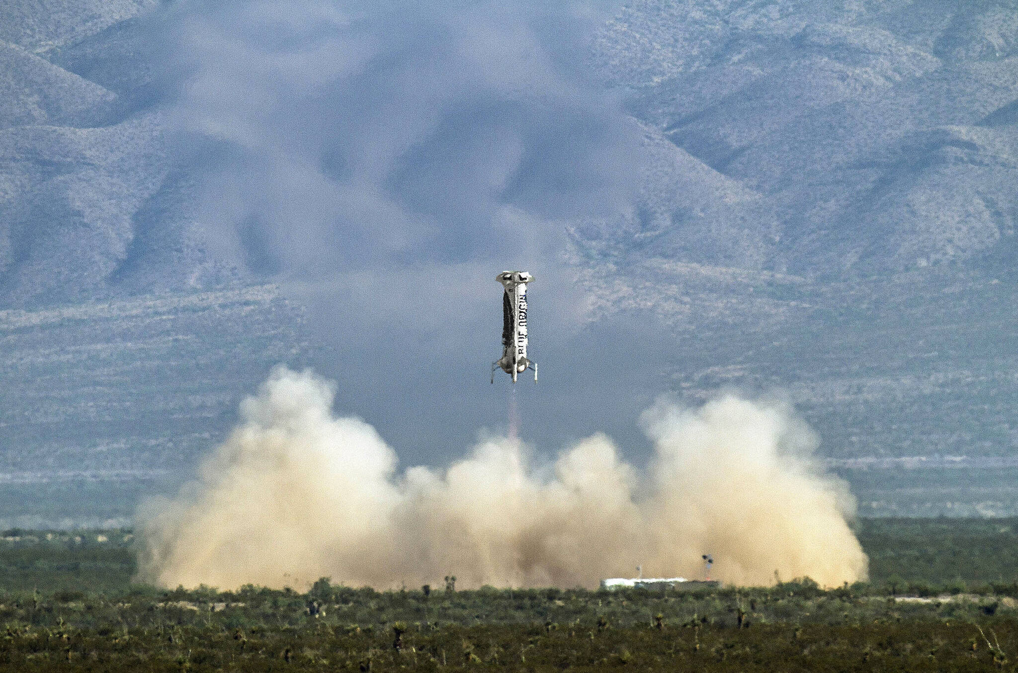 New Shepard booster landing in preparation for last week's successful launch with Jeff Bezos and others onboard. Photos courtesy of Blue Origin Jeff Bezos' space travel company, Blue Origin, announced Monday that William Shatner will blast off from West Texas on Oct. 12. (Photo courtesy of Blue Origin)