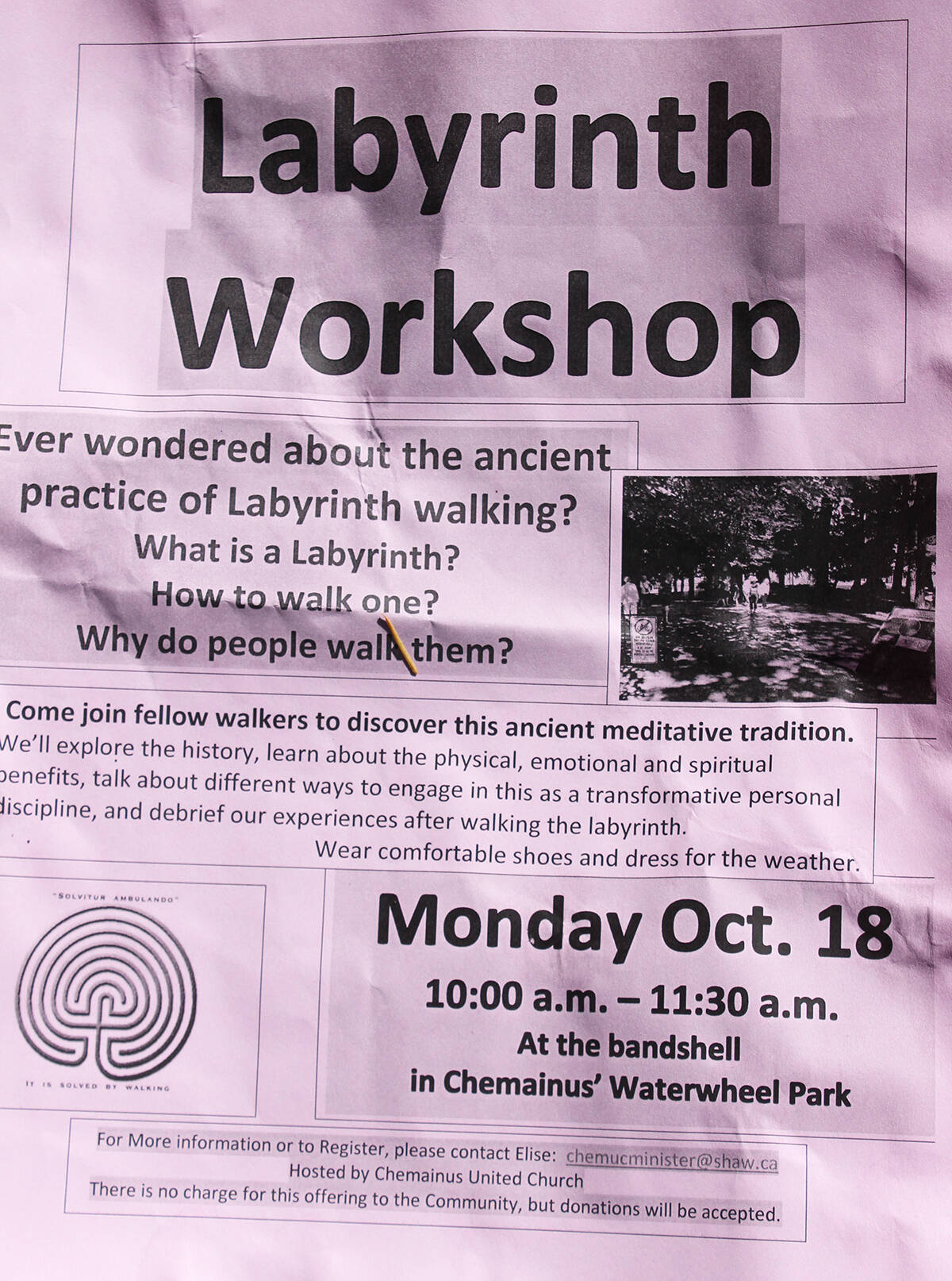 Elise Feltrin is offering a unique workshop at the Chemainus Labyrinth. (Photo by Don Bodger)